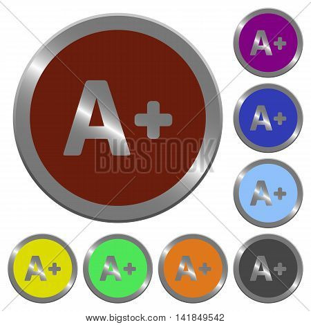 Set of color glossy coin-like increase font size buttons.