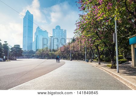 guangzhou street scene asphalt road with modern buildings and bauhinia trees China
