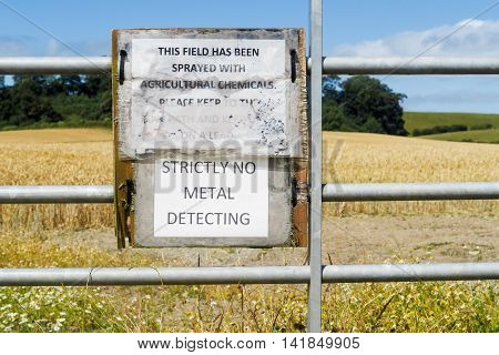 OSWESTRY ENGLAND - AUGUST 7: A 'Strictly No Metal Detecting' sign on Shropshire farmland. On 7th August 2016. In Oswestry Shropshire England.