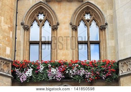 Two gothic windows with decorations and flowers