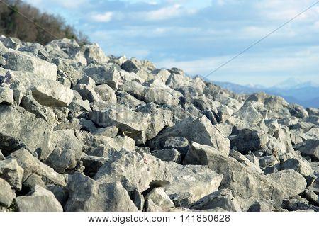 Stone mound in the mountains of Montenegro