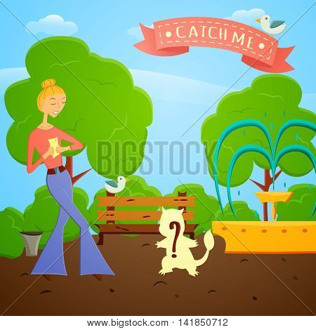 Cartoon girl with mobile phone go searching in global world wide game on a nature.Vector illustration. Fashion girl go try to catch rare animal with mobile app in a park with trees.Game style design.