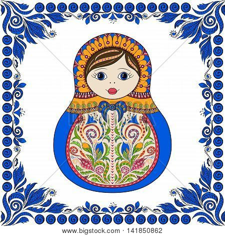 Vector russian folk ornamental matrioshka doll. Hand drawn zentangle with floral and ethnic ornaments. Colored page for relax and meditation with flowers frame