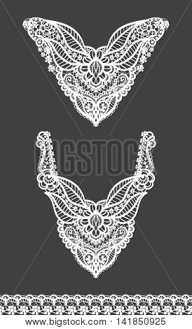 Vector set of floral necklines and lace border design for fashion. Flowers and leaves neck print. Chest lace embellishment. Ethnic indian ornament