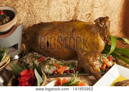 Roasted whole goat fuel ala with vegetables buffet in the Middle East