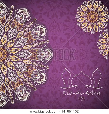 Vector greeting card to Feast of the Sacrifice (Eid-Al-Adha). Congratulation's background with text and mandalas patterns