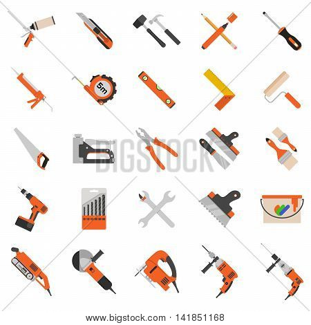 Home repair tools vector icons. Working repair tools for repair and construction. Hand drill, saw, level, hammer, screwdriver and other construction tools. Home repair set isolated on white background