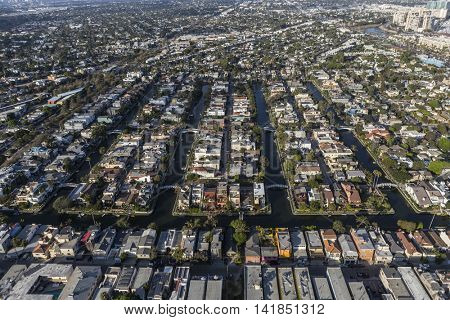 Los Angeles, California, USA - August 6, 2016:  Aerial view of the historic canal streets residential district near Venice beach, California.