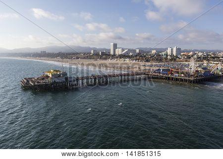 Santa Monica, California, USA - August 6, 2016:  Aerial of the Pacific Ocean and popular Santa Monica Pier near Los Angeles.