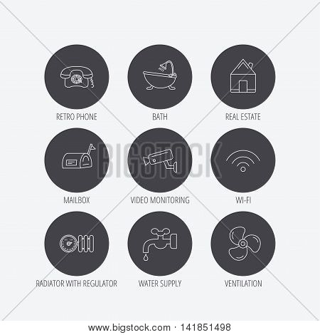 Wifi, video camera and mailbox icons. Real estate, bath and water supply linear signs. Radiator with heat regulator, phone icons. Linear icons in circle buttons. Flat web symbols. Vector