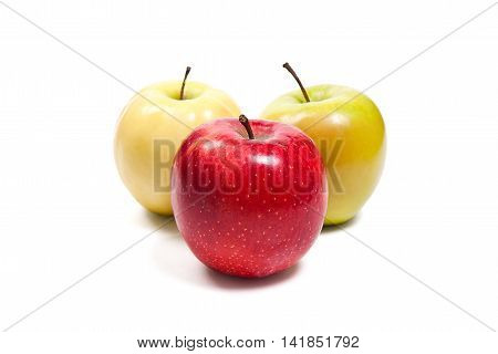 Group Of Ripe Apples On A White Background. With Clipping Path.