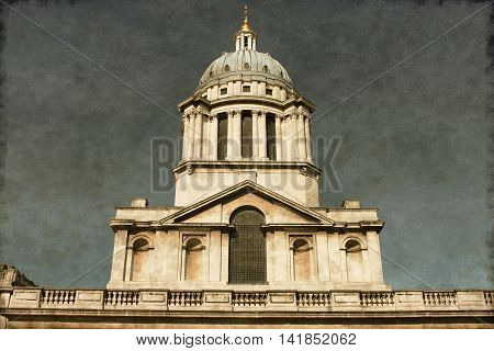 Vintage image of the Clock tower at the old Royal Naval College in Greenwich. London UK