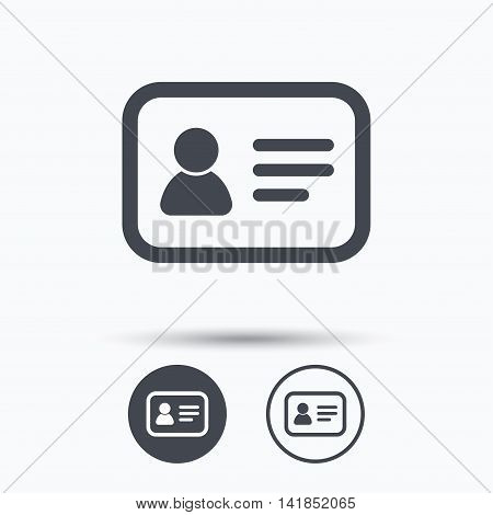 ID card icon. Personal identification document symbol. Circle buttons with flat web icon on white background. Vector