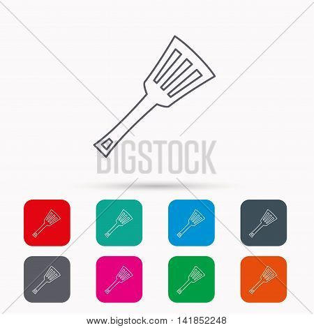 Kitchen utensil icon. Kitchenware spatula sign. Cooking tool symbol. Linear icons in squares on white background. Flat web symbols. Vector