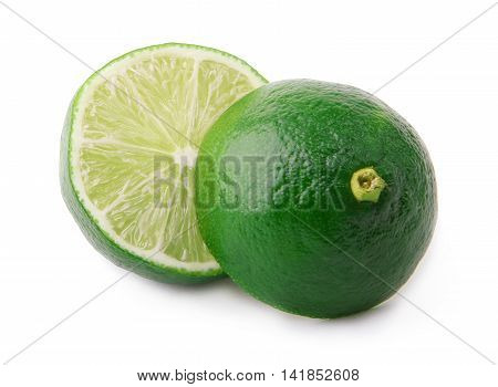 Cut green lime isolated on white background