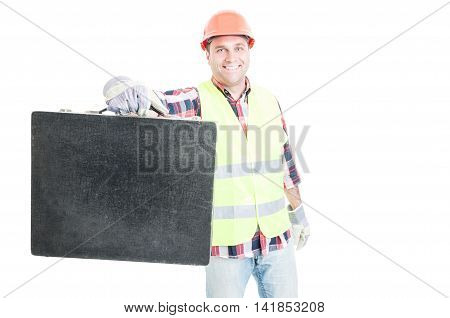 Joyful Young Constructor Showing His Toolbox