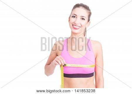 Girl At Gym Measuring Her Bust Line