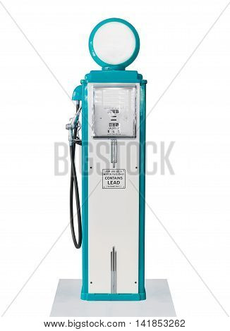 Vintage Blue Fuel Pump On White Background