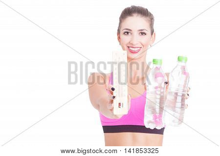 Selective Focus Of Girl Holding Water And Thermometer