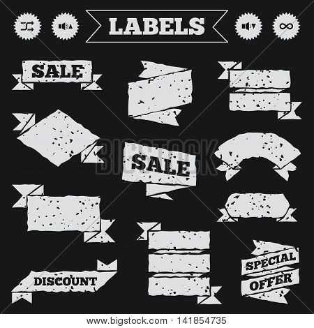 Stickers, tags and banners with grunge. Player control icons. Sound louder and quieter signs. Dynamic symbol. Shuffle random and repeat loop. Sale or discount labels. Vector