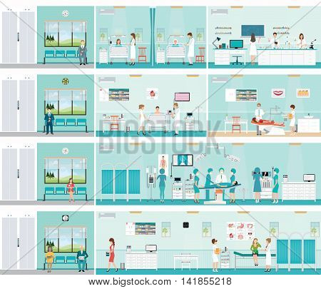 Patient And Doctor in hospital surgery operation room post-operation ward laboratory medical check up interior roomECG Test or cardiology center room interior dental care characters health care vector illustration.