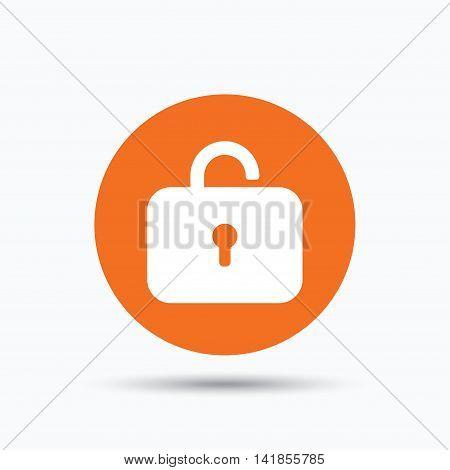 Lock icon. Privacy locker sign. Private access symbol. Orange circle button with flat web icon. Vector