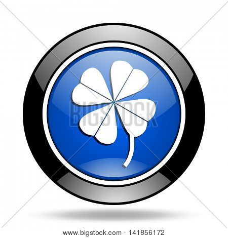 four-leaf clover blue glossy icon