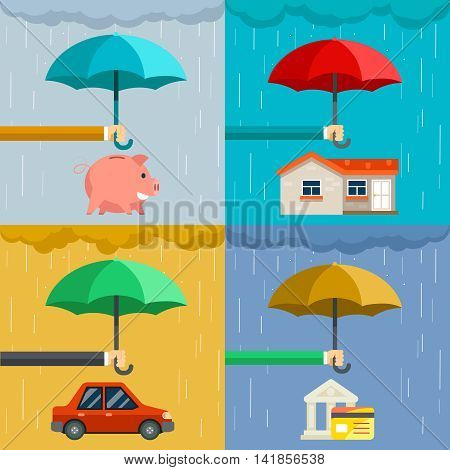 Insurance concept, security of property in flat style. Hand holding umbrella over house and car, protect money. Vector illustration