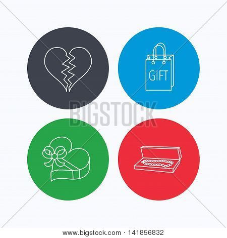 Broken heart, gift box and wedding jewelry icons. Box with jewelry linear sign. Linear icons on colored buttons. Flat web symbols. Vector