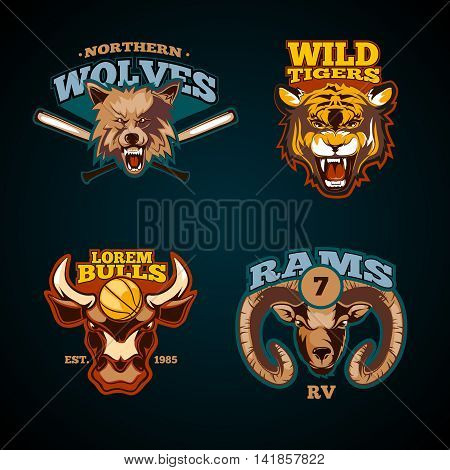 Sports labels with heads of animals. Wolf, bulls, ram and tiger emblems. Vector illustration