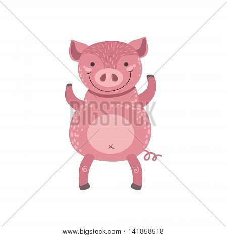 Pink Pig Standing On Two Legs Stylized Cute Childish Flat Vector Drawing Isolated On White Background