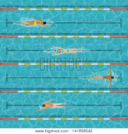 Swimming pool with people. Water sport people activity illustration