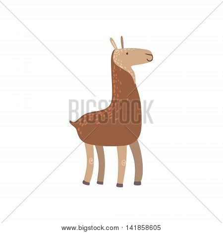 Brown Llama Standing Stylized Cute Childish Flat Vector Drawing Isolated On White Background