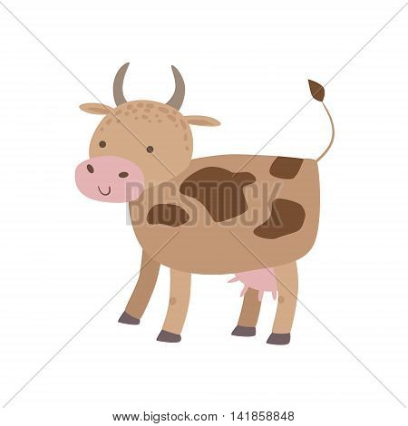 Spotted Brown Cow Standing Stylized Cute Childish Flat Vector Drawing Isolated On White Background