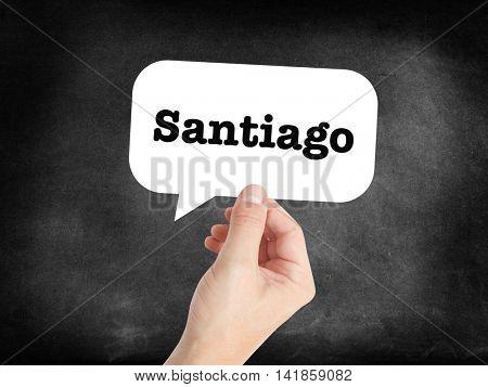 Santiago written in a speechbubble