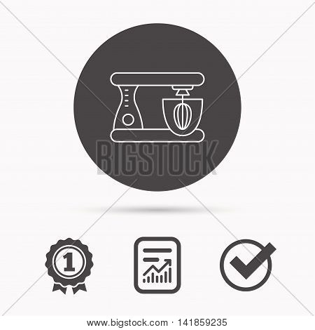 Mixer icon. Electric blender sign. Report document, winner award and tick. Round circle button with icon. Vector