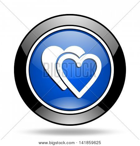 love blue glossy icon