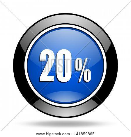 20 percent blue glossy icon
