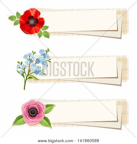 Set of three vector web banners with red poppy, blue forget-me-not and pink anemone flowers.