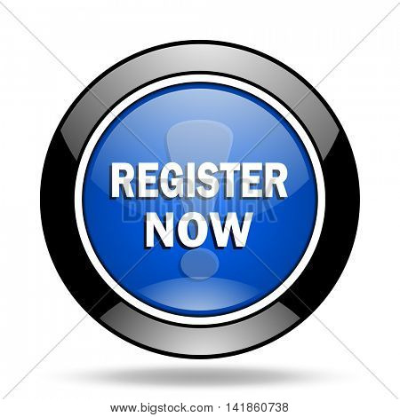 register now blue glossy icon