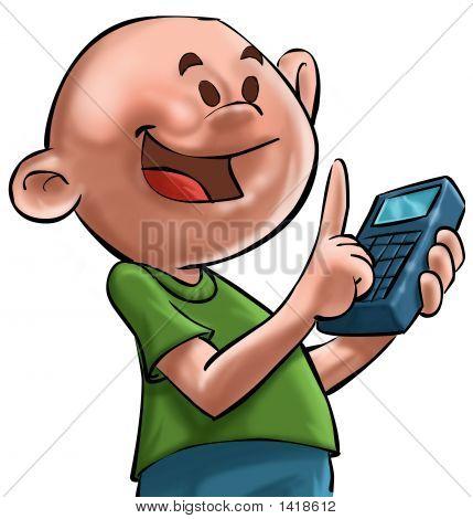 El muchacho Ande la calculadora