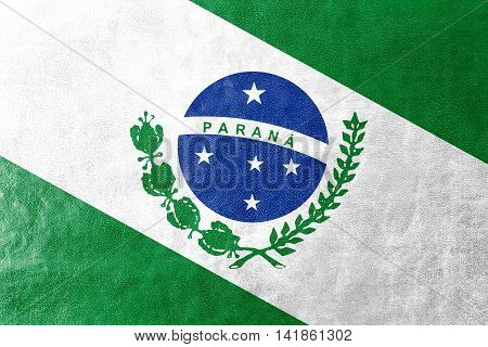 Flag Of Parana State, Brazil, Painted On Leather Texture