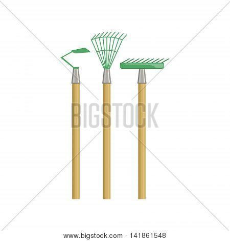 Set Of Gardening Equipment With Rake And Chopper Simple Realistic Bright Flat Colorful Illustration Isolated On White Background
