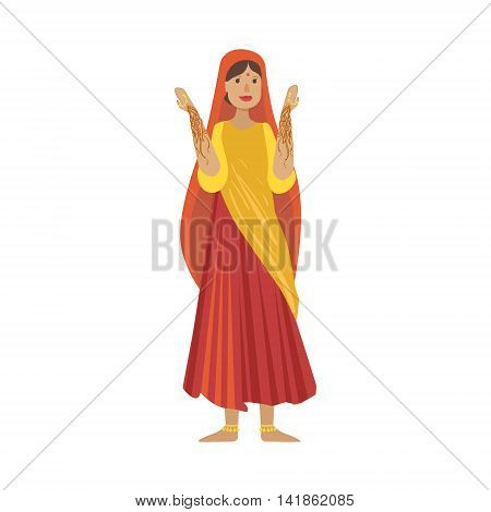 Woman With Indian Heena Drawings On Hands Country Cultural Symbol Illustration. Simplified Cartoon Style Drawing Isolated On White Background