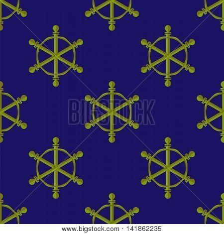 Marine Seamless Pattern. Ship Steering Wheel Background