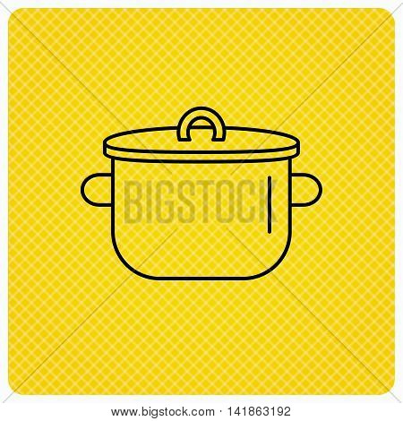 Pan icon. Cooking pot sign. Kitchen tool symbol. Linear icon on orange background. Vector