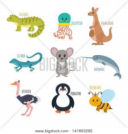 Abc. Cute Zoo Alphabet In Vector. Funny Cartoon Animals. Iguana, Jellyfish, Kangaroo, Lizard, Mouse,