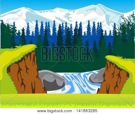 The Beautiful waterfall and year glade with flower.Vector illustration