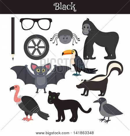 Black. Learn The Color. Education Set. Illustration Of Primary Colors