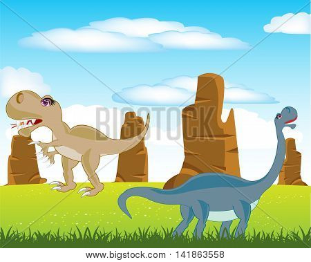 The Prehistorical animals dinosaurs on green meadow.Vector illustration